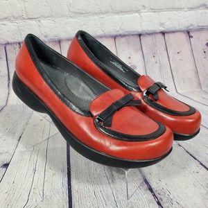 Dansko Red Leather Slip On Loafers